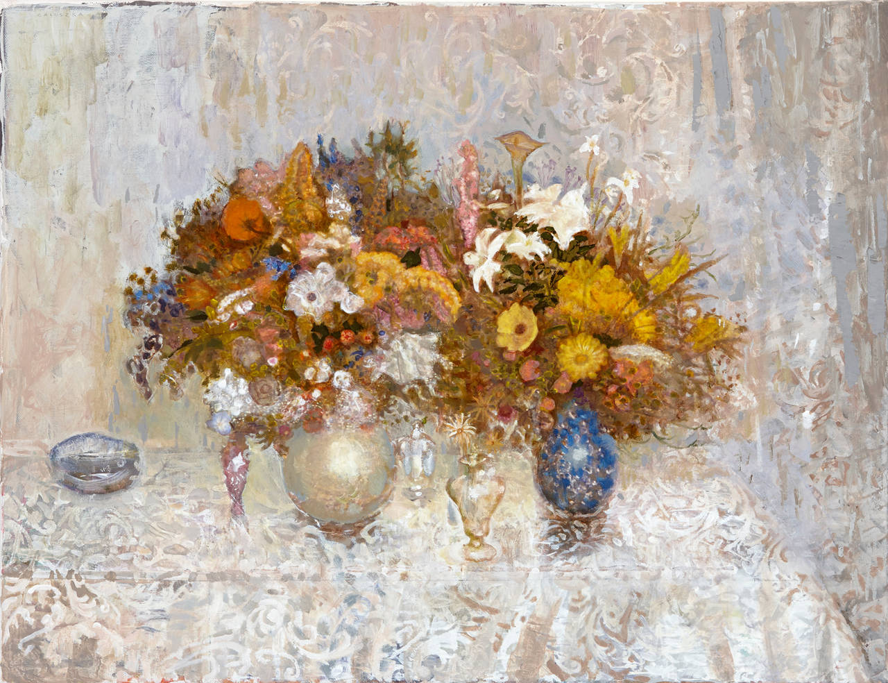 Frank Galuszka White Flowers Painting At 1stdibs