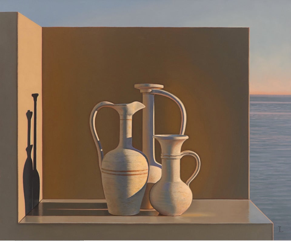 David Ligare Still Life With Egyptian Vases Painting For Sale At