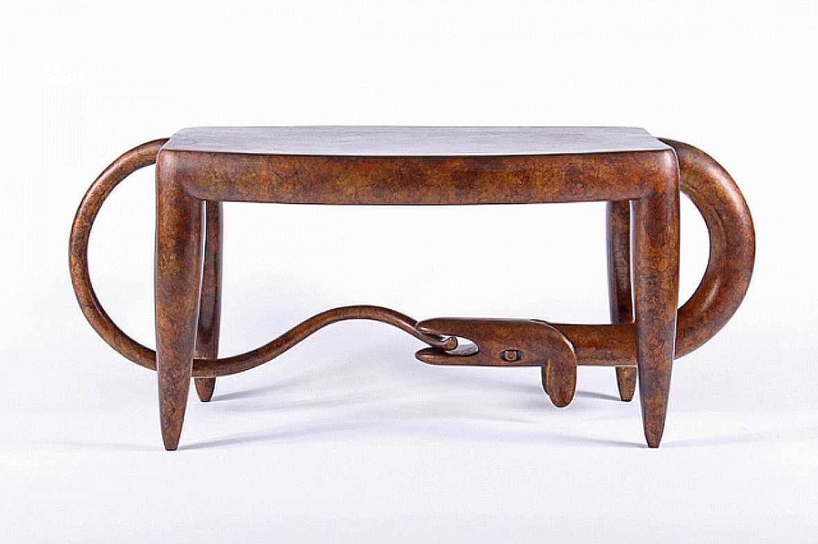 Judy Mckie Dog Bites Tail Table Bench Bronze Sculpture At 1stdibs