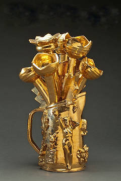 Gold Pitcher with Flowers