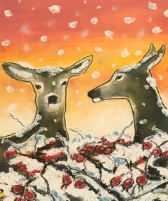 Snow Deer and Rose Hips
