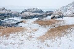 """Annisquam Snow"", Vicki McKenna, color photograph, shoreline, seashore, white"