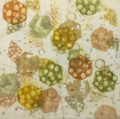 """Bio System 3"", abstract, encaustic, pastel, microscopic, ochres, gold, greens"