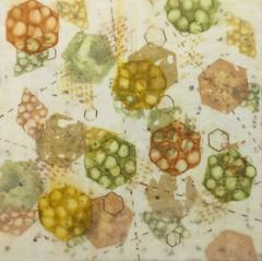 "Kay Hartung, ""Bio System 3"", abstract encaustic painting with cell imagery"