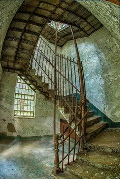 """Stairway"", Rebecca Skinner, metal print, color photo, abandoned asylum, green"