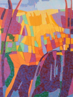 """""""Canyon Song"""", oil painting, landscape, abstract, yellows, purples, blues"""
