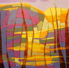 """""""Cascade"""", oil painting, abstract, landscape, geometric, yellows, magentas, blue"""