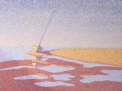 """""""Pamet Harbor (Wellfleet)"""", oil painting, boat, reflections, water, blues"""