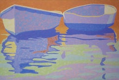 """""""Summer Afternoon"""", oil painting, boats, reflections, water, blues, oranges"""