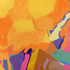 """""""Landscape of Dreams"""", abstract, oil painting, yellows, oranges"""