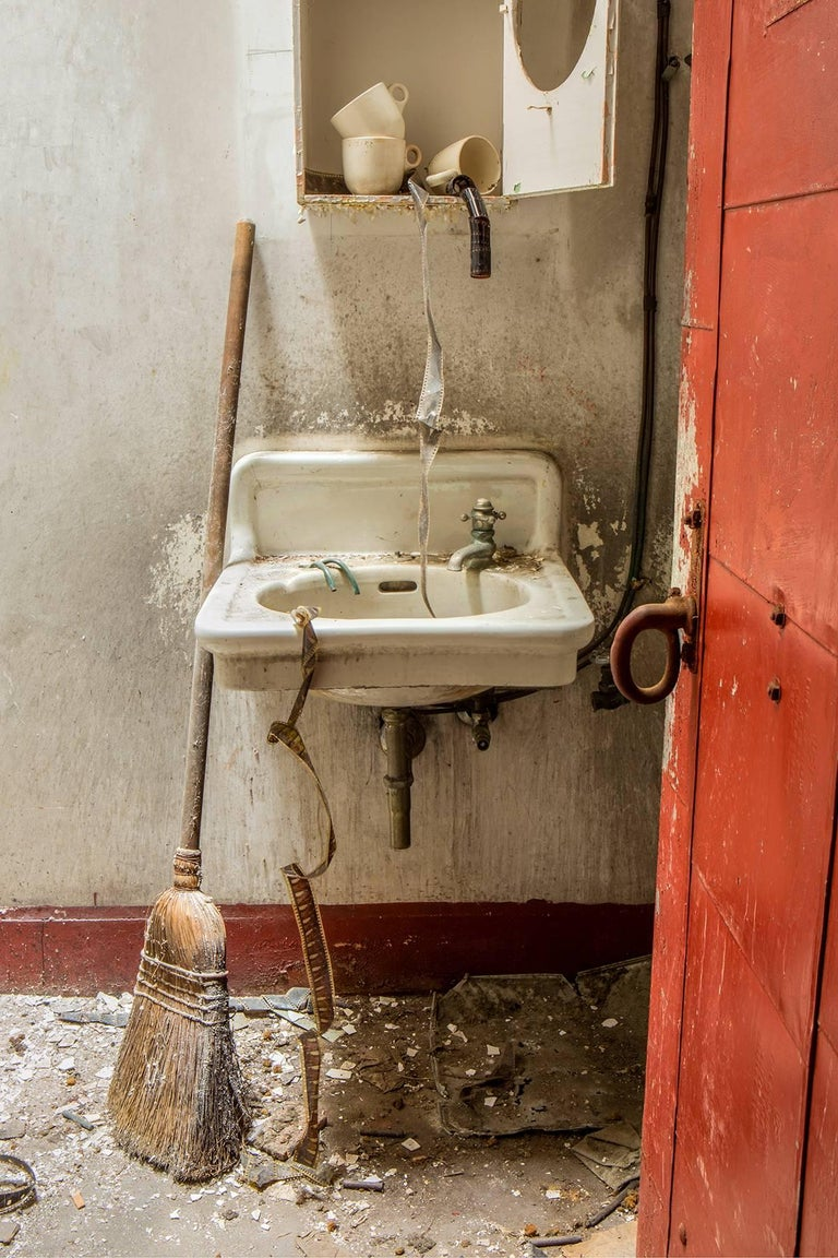 """""""Dirty Film"""", Rebecca Skinner, color photo, abandoned, theater, sink, broom, red - Photograph by Rebecca Skinner"""