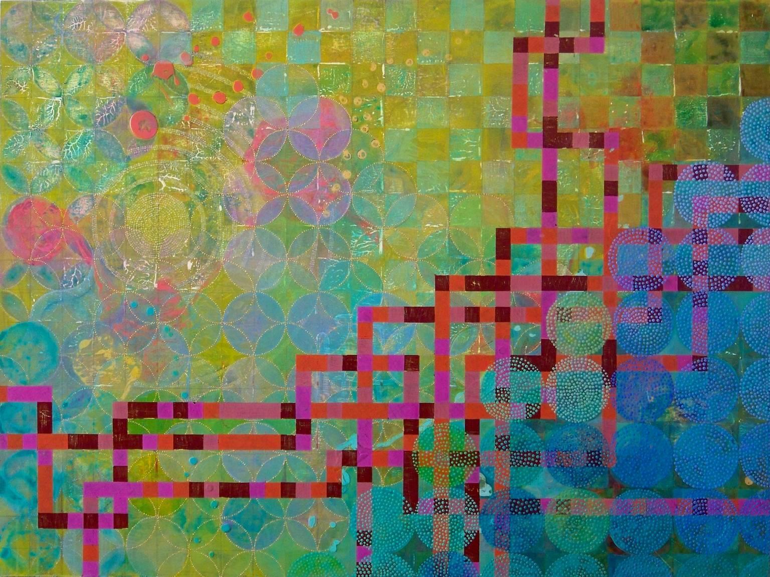 """""""Circles 33"""", abstract, acrylic painting, green, magenta, pink, coral"""