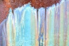 """Run"", Rebecca Skinner, color photo, metal print, texture, rusted, blue, purple"