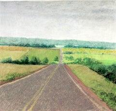 """Untitled Pastel #4"", pastel drawing, landscape, road, fields, summer, green"