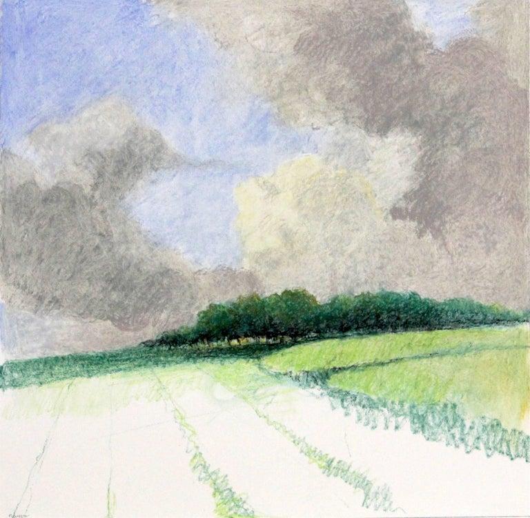 """""""Untitled Pastel #7"""", oil pastel drawing, landscape, fields, summer, green - Art by James Wilson Rayen"""
