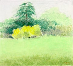 """""""Untitled Pastel #10"""", pastel drawing, landscape, spring, summer, green, yellow"""