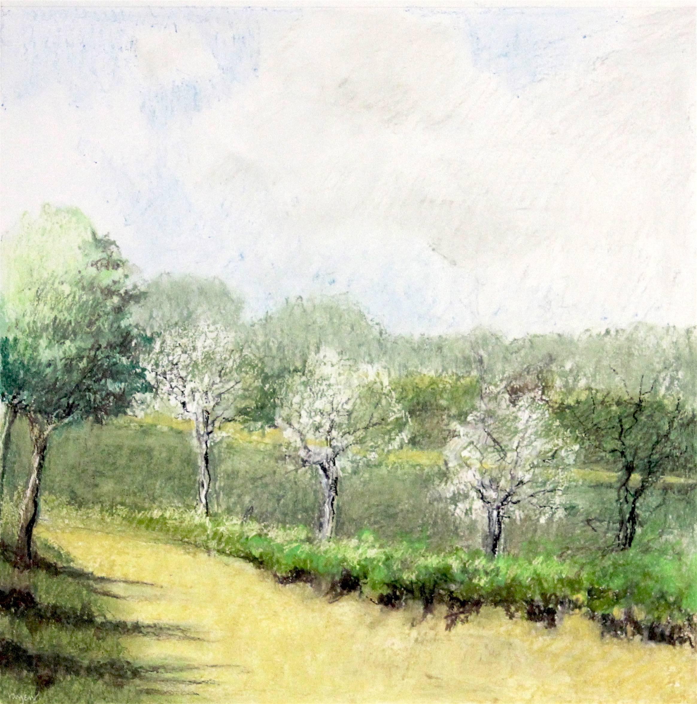 """Untitled Pastel #11"", pastel drawing, landscape, trees, spring, summer, green"