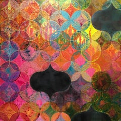 """""""Circles 34"""", Denise Driscoll, abstract, acrylic painting, geometric, magenta"""