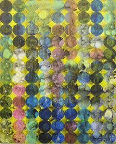 """""""Circles 41"""", abstract, acrylic painting, multicolored, green, yellow, gold"""