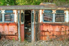 """Trolley Car #8483"", Rebecca Skinner, color photograph, metal print, rusty, red"