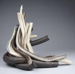 """""""Flow"""", Sara Fine-Wilson, abstract, ceramic, sculpture, stoneware, white, brown"""