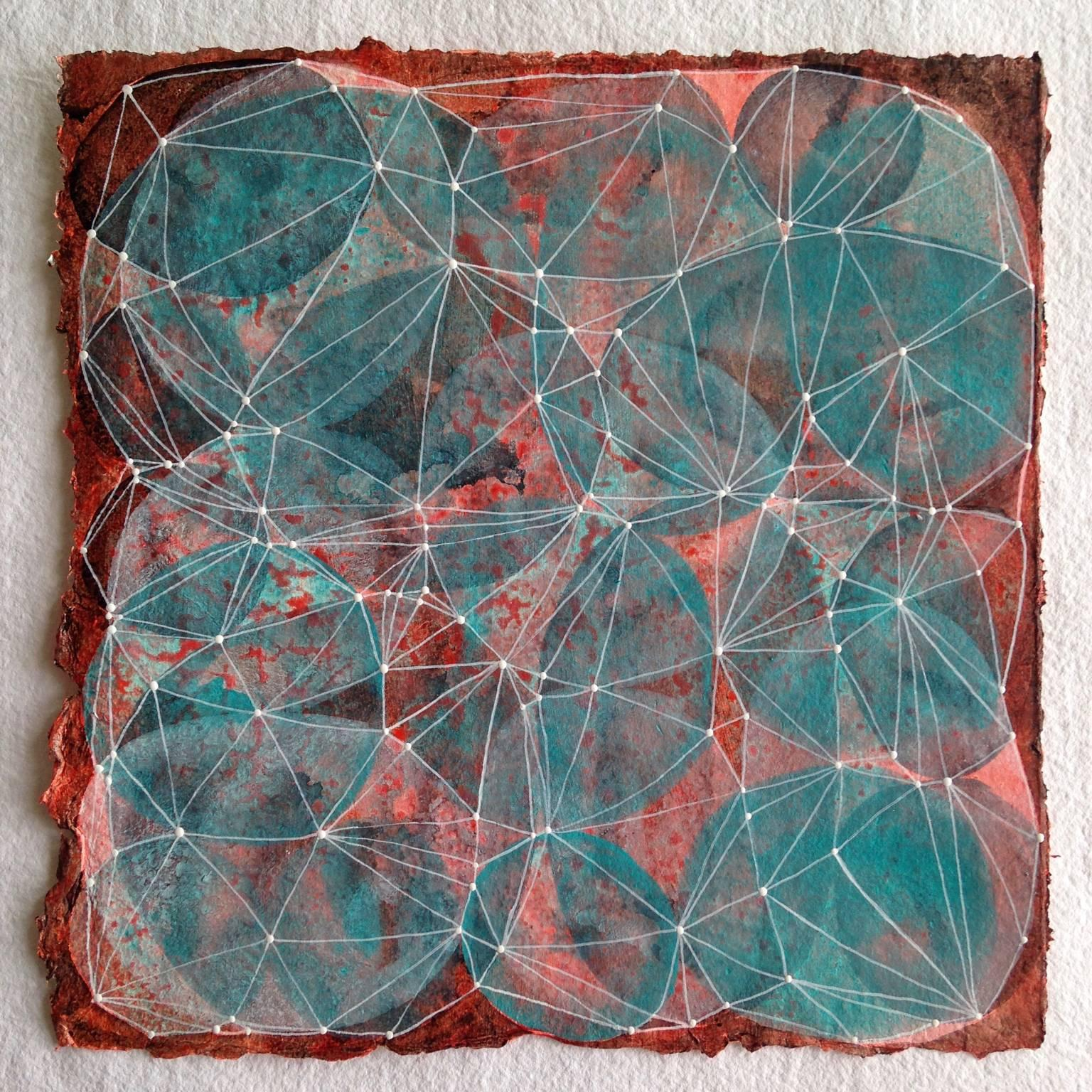 """""""Inner Garden 11"""", abstract, acrylic painting, teal, white, red, black, dots"""