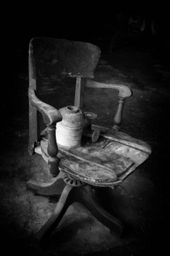 """Rest"", Rebecca Skinner, abandoned silk mill, metal print, industrial, chair"