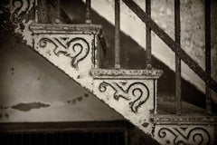 """""""Stair Detail"""", photography, black and white, metal print, abandoned, iron"""