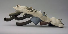 """Caterpillar"", abstract, ceramic, sculpture, neutral tones, white, gray, brown"