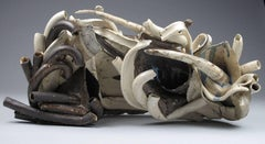 """Dense Way"", Sara Fine-Wilson, abstract, ceramic, sculpture, white, brown"