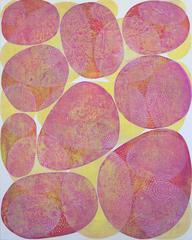 """""""Inner Garden 24"""", abstract acrylic painting in magenta, yellow, and white"""