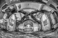 """Shine On"", black and white, photograph, metal print, church, abandoned"