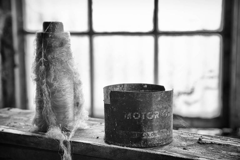 """""""Collection #3"""", Rebecca Skinner, abandoned silk mill, metal print, industrial - Photograph by Rebecca Skinner"""