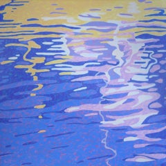"""""""Dance on Water"""", oil painting, abstract, landscape, blues, yellows, lavenders"""
