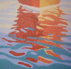 """""""Red Reflections"""", oil painting, abstract, landscape, boat, water, blue, orange"""