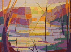 """""""Spillway"""", Marcia Wise, oil painting, abstract, landscape, water, yellows, blue"""