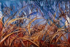 """Allow"",  Sarah Alexander, watercolor, landscape, marsh grasses, blue"