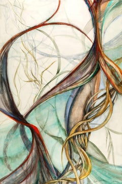 """Current"", Sarah Alexander, abstract, watercolor, turquoise, white, soft browns"