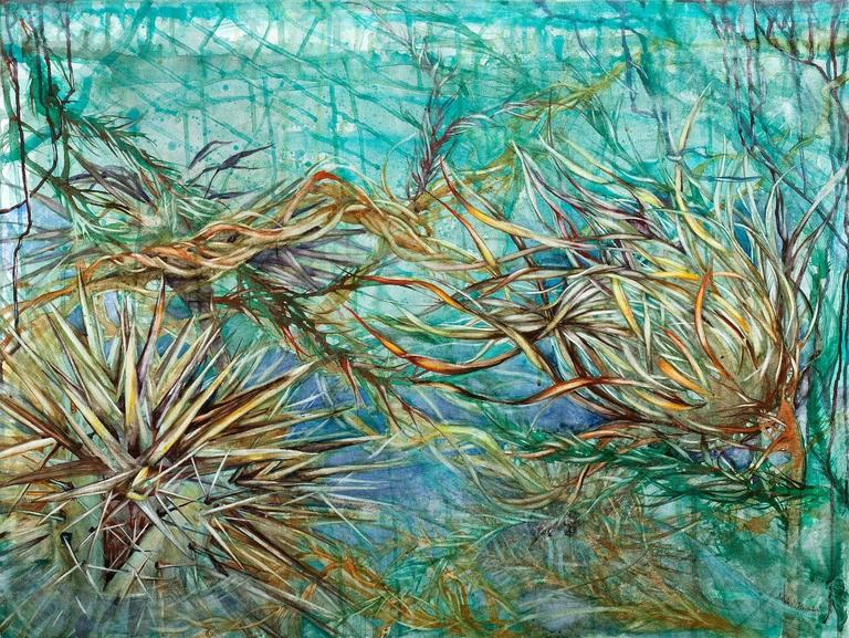 """Sarah Alexander Abstract Drawing - """"Undertow"""", abstract, botanical, watercolor on canvas, turquoises, blues"""