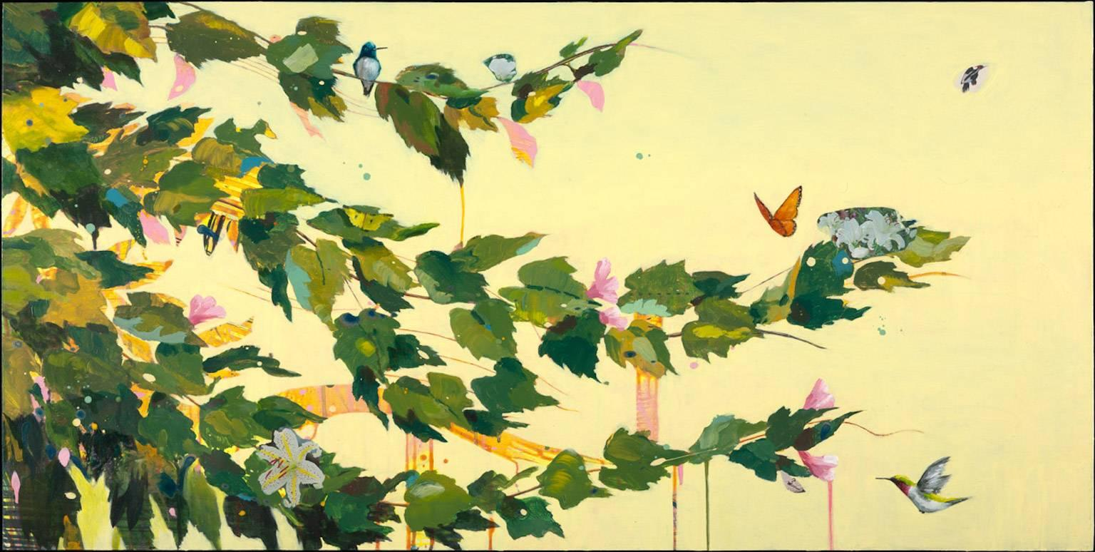 """All at Once"", acrylic, oil painting, fruit, flowers, yellow, green, hummingbird"