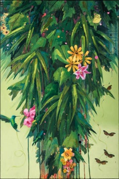 """Flirtation Migration 4 (Yellow Flowers)"", Anne Sargent Walker, acrylic, oil"
