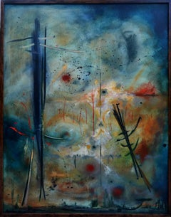 """Journey"", abstract, oil painting on canvas, dark, moody, blue, rust"