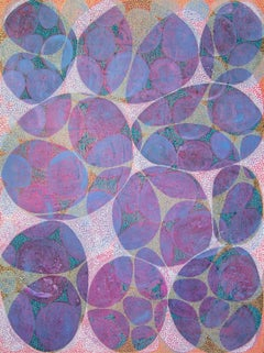 """""""Entanglement 3"""", Denise Driscoll, abstract, acrylic, violets, blues, teal, red"""