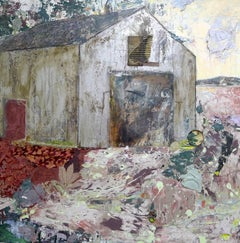 """Sundown"", Brenda Cirioni, contemporary, mixed media, landscape, white barn"