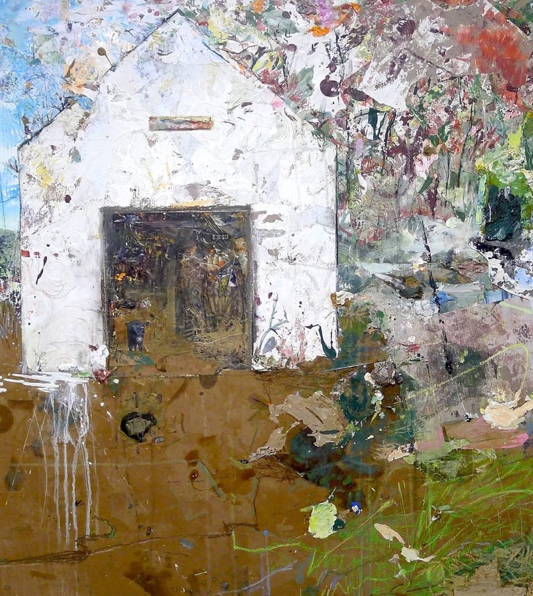 """Brenda Cirioni's painting """"Cow in the Barn"""" from her """"Barn Series"""" features a cow in the doorway of a white barn. To the right of the barn is a riot of marks and color suggesting trees and a small pond. Brown paper scattered with drips, scribbles,"""