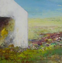 """Grow!"", mixed media, landscape, white barn, green, blue, bronze"