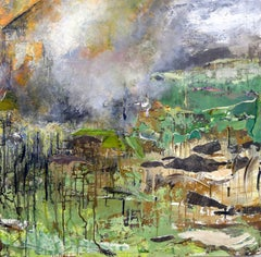 """Rocky Ground"", Brenda Cirioni, mixed media, landscape, green, grey, brown"