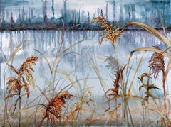"""Musing"",  Sarah Alexander, watercolor, landscape, marsh, grasses, blue, red"