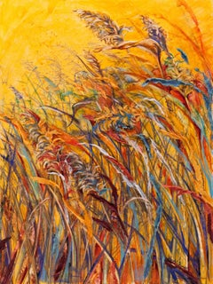 """Vigor"",  Sarah Alexander, watercolor, mixed media, grasses, botanical, yellow"