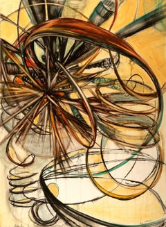 """Wired, Out of Time"",  Sarah Alexander, watercolor, charcoal, yellow, sepia"